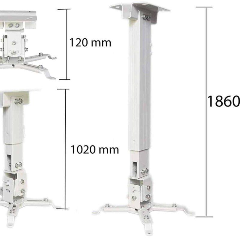 Fixation vidéoprojecteur mur et plafond stable de couleur blanche pour des présentations et des soirées cinéma réussies. 2 modèles inclus.