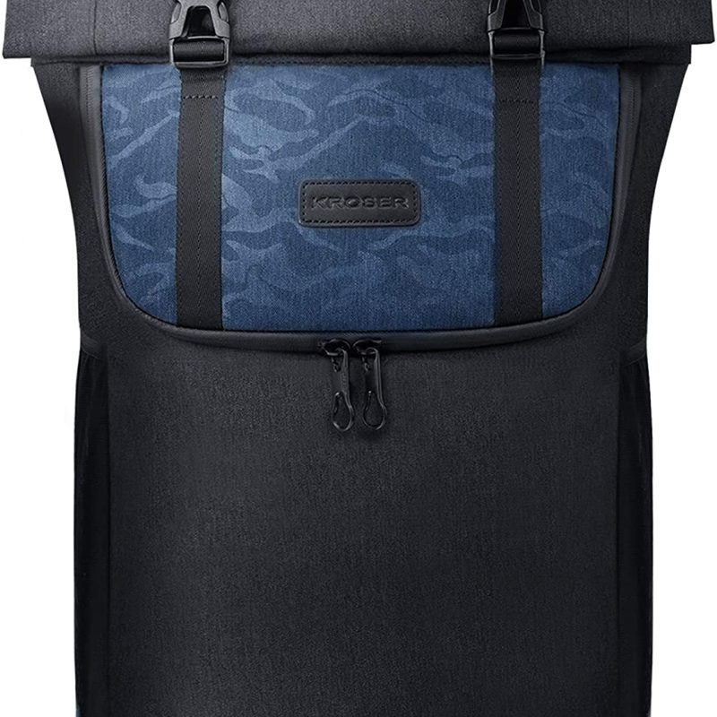 KROSER Laptop Backpack 15.6 Inch Roll-top Stylish Computer Backpack with USB Charging Port Water-Repellent Large